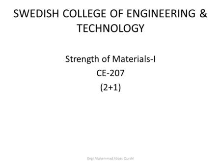 SWEDISH COLLEGE OF ENGINEERING & TECHNOLOGY