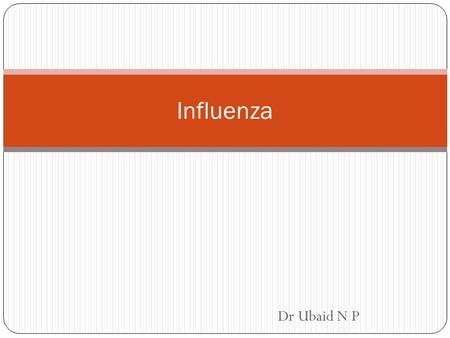 Dr Ubaid N P Influenza. Acute respiratory tract infection 3 types – A, B & C Sudden onset of chills, fever, malaise, muscular pain and cough International.