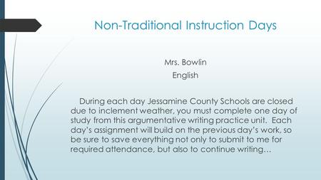 Non-Traditional Instruction Days