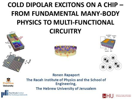 COLD DIPOLAR EXCITONS ON A CHIP – FROM FUNDAMENTAL MANY-BODY PHYSICS TO MULTI-FUNCTIONAL CIRCUITRY Ronen Rapaport The Racah Institute of Physics and the.
