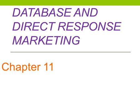 Database and Direct Response Marketing
