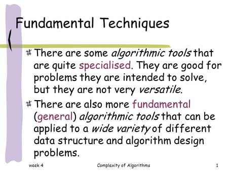 Fundamental Techniques