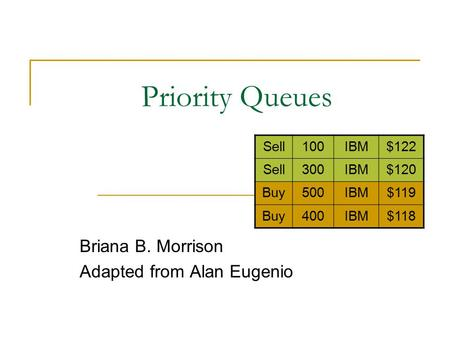 Priority Queues Briana B. Morrison Adapted from Alan Eugenio Sell100IBM$122 Sell300IBM$120 Buy500IBM$119 Buy400IBM$118.