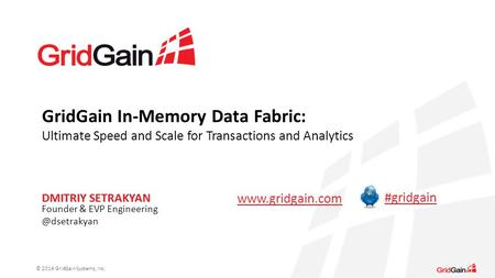 GridGain In-Memory Data Fabric: