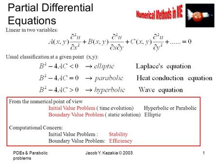 PDEs & Parabolic problems Jacob Y. Kazakia © 20031 Partial Differential Equations Linear in two variables: Usual classification at a given point (x,y):