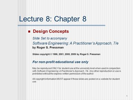 Lecture 8: Chapter 8 Design Concepts