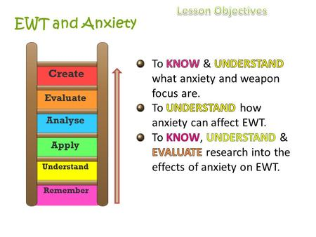 EWT and Anxiety. How will I know if I am learning? By the end of the lesson… E Will be able to define weapon focus. C Will be able to explain how anxiety.
