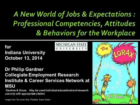 For Indiana University October 13, 2014 Dr Philip Gardner Collegiate Employment Research Institute & Career Services Network at MSU Gardner & Gross. May.