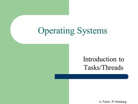 A. Frank - P. Weisberg Operating Systems Introduction to Tasks/Threads.