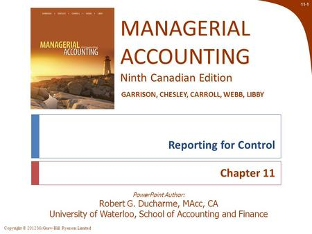Reporting for Control Chapter 11 Chapter 11: Reporting for Control