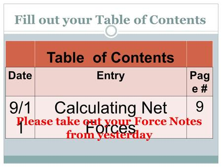 Fill out your Table of Contents Table of Contents DateEntryPag e # 9/1 1 Calculating Net Forces 9 Please take out your Force Notes from yesterday.
