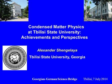 Condensed Matter Physics at Tbilisi State University: