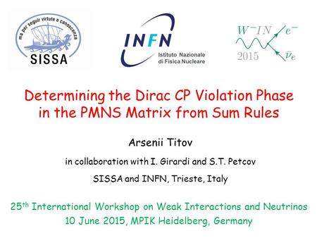 Determining the Dirac CP Violation Phase in the PMNS Matrix from Sum Rules Arsenii Titov in collaboration with I. Girardi and S.T. Petcov SISSA and INFN,