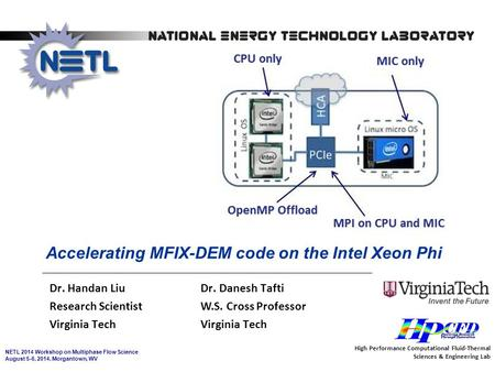 NETL 2014 Workshop on Multiphase Flow Science August 5-6, 2014, Morgantown, WV Accelerating MFIX-DEM code on the Intel Xeon Phi Dr. Handan Liu Dr. Danesh.