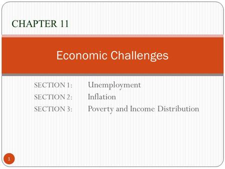 Economic Challenges CHAPTER 11 SECTION 1: Unemployment