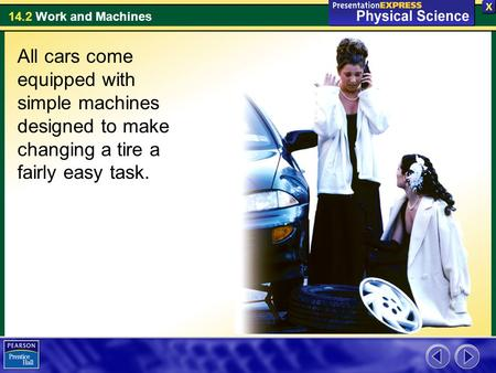 14.2 Work and Machines All cars come equipped with simple machines designed to make changing a tire a fairly easy task.