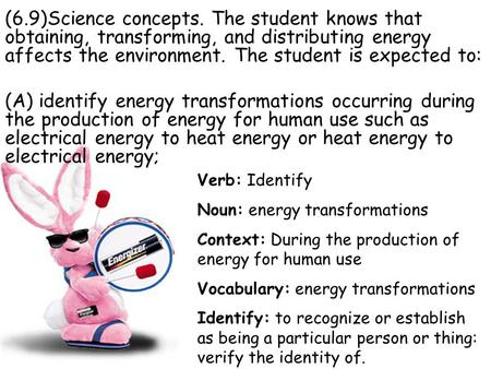 (6.9)Science concepts. The student knows that obtaining, transforming, and distributing energy affects the environment. The student is expected to: (A)