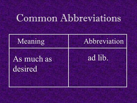 Advertisement abbreviation