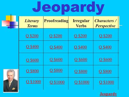 Jeopardy Literary Terms ProofreadingIrregular Verbs Characters / Perspective Q $200 Q $400 Q $600 Q $800 Q $1000 Q $200 Q $400 Q $600 Q $800 Q $1000 Jeopardy.
