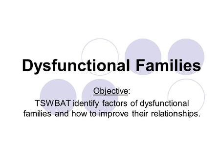 Dysfunctional Families Objective: TSWBAT identify factors of dysfunctional families and how to improve their relationships.
