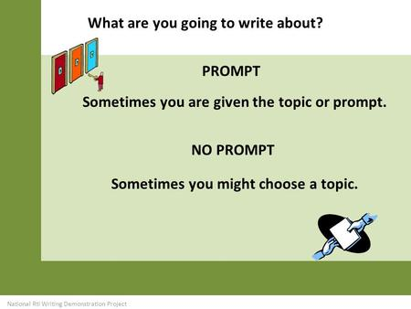 Sometimes you might choose a topic. What are you going to write about? icon Sometimes you are given the topic or prompt. PROMPT NO PROMPT National RtI.