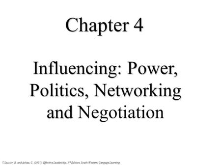 Influencing: Power, Politics, Networking and Negotiation