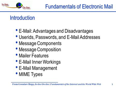 Fundamentals of Electronic Mail From Greenlaw/Hepp, In-line/On-line: Fundamentals of the Internet and the World Wide Web 1 Introduction E-Mail: Advantages.