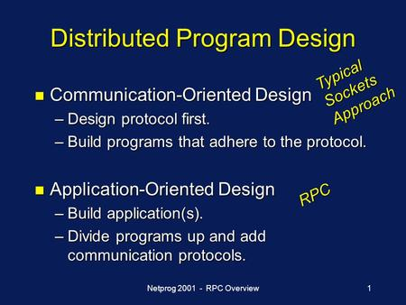 Netprog 2001 - RPC Overview1 Distributed Program Design n Communication-Oriented Design –Design protocol first. –Build programs that adhere to the protocol.