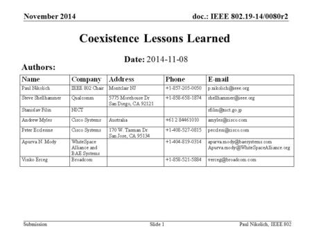 Doc.: IEEE 802.19-14/0080r2 Submission November 2014 Paul Nikolich, IEEE 802Slide 1 Coexistence Lessons Learned Date: 2014-11-08 Authors:
