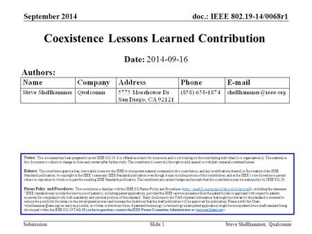 Doc.: IEEE 802.19-14/0068r1 Submission September 2014 Steve Shellhammer, QualcommSlide 1 Coexistence Lessons Learned Contribution Notice: This document.