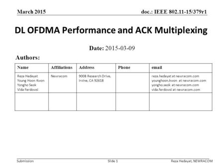 DL OFDMA Performance and ACK Multiplexing