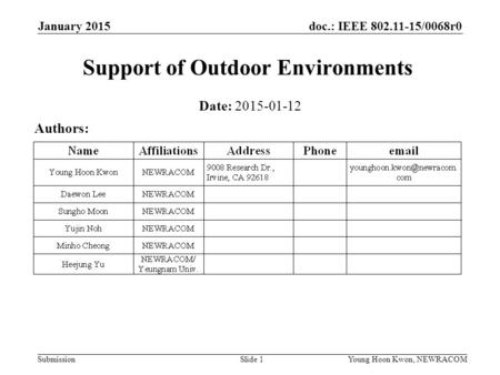 Doc.: IEEE 802.11-15/0068r0 SubmissionSlide 1Young Hoon Kwon, NEWRACOM January 2015 Support of Outdoor Environments Date: 2015-01-12 Authors:
