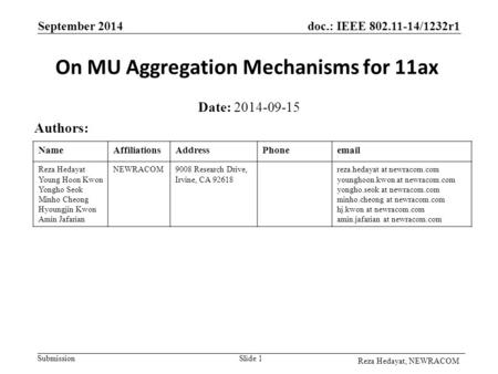 Doc.: IEEE 802.11-14/1232r1 Submission September 2014 Reza Hedayat, NEWRACOM On MU Aggregation Mechanisms for 11ax Date: 2014-09-15 Authors: Slide 1 NameAffiliationsAddressPhoneemail.