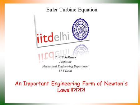 Euler Turbine Equation