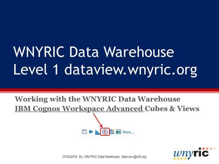 WNYRIC Data Warehouse Level 1 dataview.wnyric.org Working with the WNYRIC Data Warehouse IBM Cognos Workspace Advanced Cubes & Views 01/09/2015 By: WNYRIC.
