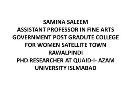 ASSISTANT PROFESSOR IN FINE ARTS