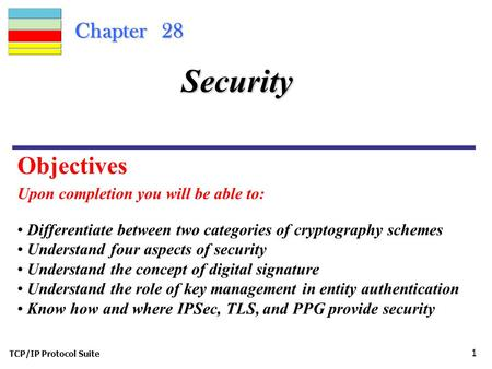 TCP/IP Protocol Suite 1 Chapter 28 Upon completion you will be able to: Security Differentiate between two categories of cryptography schemes Understand.