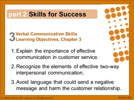 © 2009 The McGraw-Hill Companies, Inc. All rights reserved. 1 McGraw-Hill part 3 2 1.Explain the importance of effective communication in customer service.