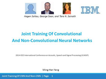Joint Training Of Convolutional And Non-Convolutional Neural Networks