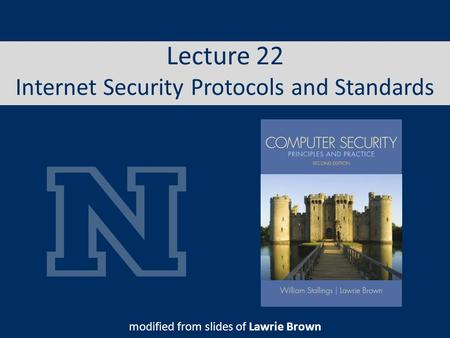 Lecture 22 Internet Security Protocols and Standards modified from slides of Lawrie Brown.