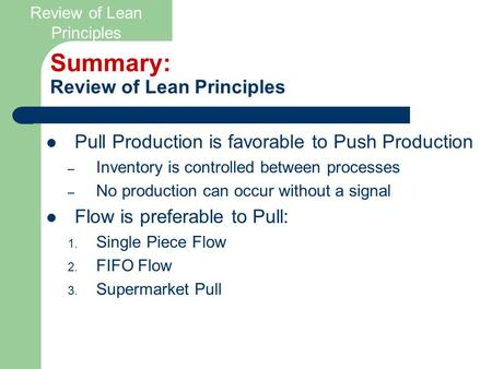 Summary: Review of Lean Principles