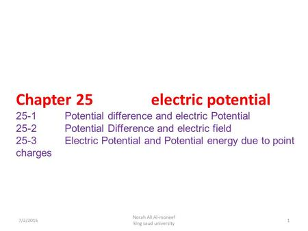 Chapter 25 electric potential 25-1 Potential difference and electric Potential 25-2 Potential Difference and electric field 25-3 Electric Potential and.