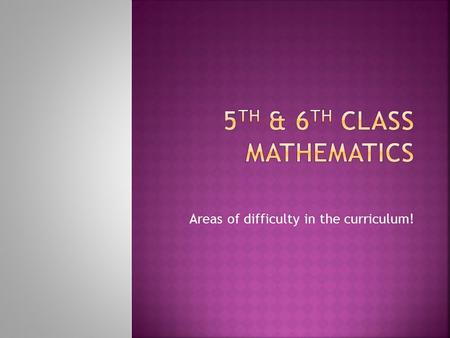 Areas of difficulty in the curriculum!.  1. Number  2. Algebra  3. Shape and Space  4. Measures  5. Data.