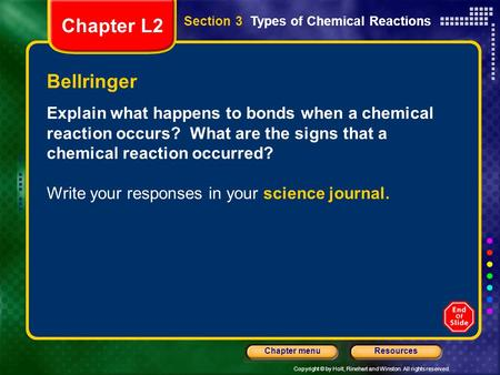 Copyright © by Holt, Rinehart and Winston. All rights reserved. ResourcesChapter menu Bellringer Explain what happens to bonds when a chemical reaction.