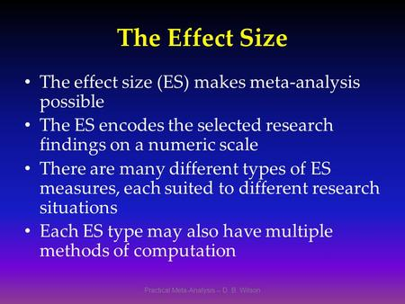 Practical Meta-Analysis -- D. B. Wilson