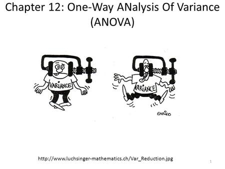 Chapter 12: One-Way ANalysis Of Variance (ANOVA)  1.