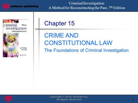 1 Book Cover Here Chapter 15 CRIME AND CONSTITUTIONAL LAW The Foundations of Criminal Investigation Criminal Investigation: A Method for Reconstructing.