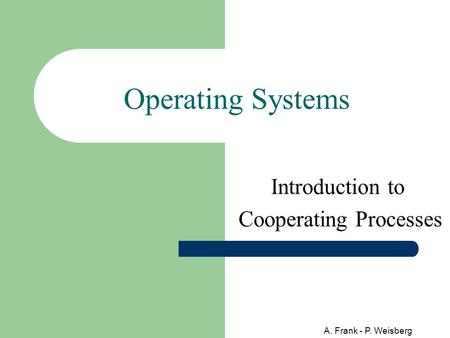 A. Frank - P. Weisberg Operating Systems Introduction to Cooperating Processes.