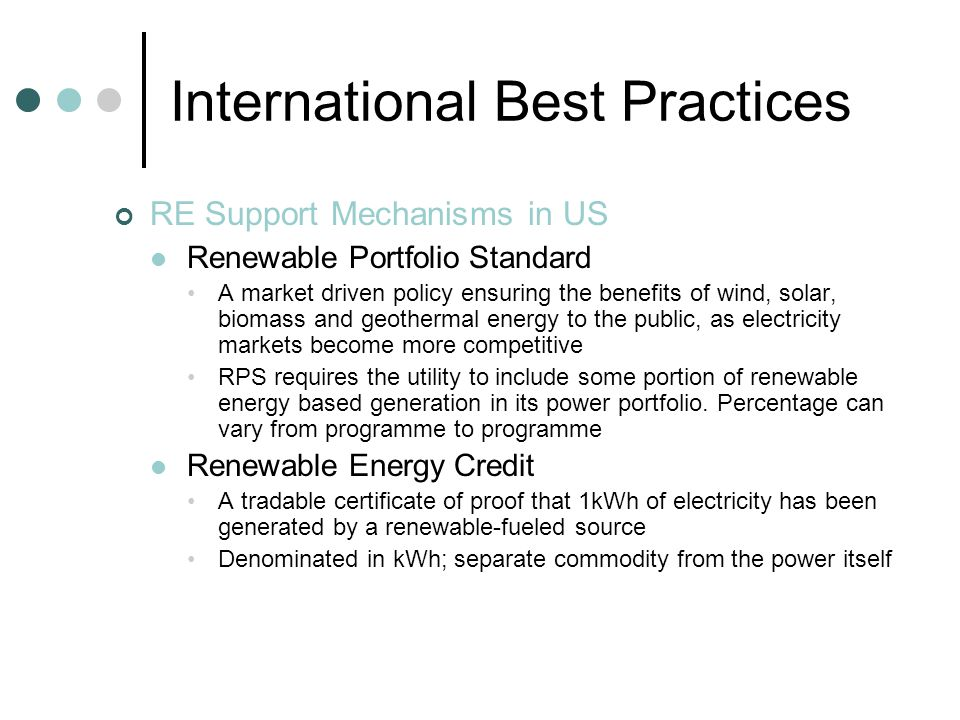 Salient Features of the Texas RPS Renewable Energy Purchase Obligations Capacity targets of 400 MW of eligible new renewables by 2003, 850 MW by 2005, 1400 MW by 2007, and 200 MW by 2009 and through 2019 Annual energy based purchase obligations beginning in 2002 and ending in 2019 derived based on capacity targets and average capacity factor of renewable generation Obligated Parties All electricity retailers in competitive markets share this obligation based on their proportionate yearly electricity sales International Best Practices