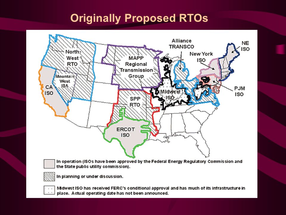 Status Report 10 years ago only a few companies were authorized (by FERC) to sell wholesale power at market-based rates Now about 860 companies are eligible to sell wholesale power at market-based rates 1998 Midwest price spikes 2000-01 California price spikes 2001: FERC pushing for 4 regional RTOs